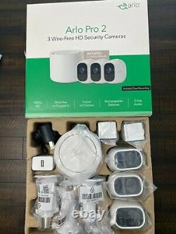 Arlo Pro 2 1080p Wireless Home Security Camera System White 3 pack NEW