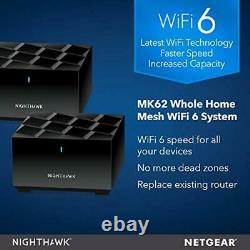 NETGEAR AX1800 Nighthawk Whole Home Mesh WiFi 6 System MK62, wireless router