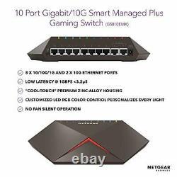 NETGEAR GS810EMX-100UKS Nighthawk Pro Gaming SX10 Gigabit Ethernet 8 Ports Switc