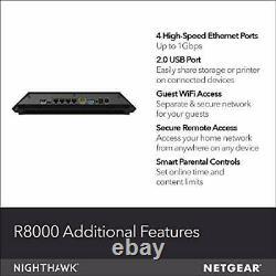 NETGEAR Nighthawk X6 Smart Wifi Router (R8000) AC3200 Tri-band Wireless Speed
