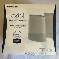NETGEAR Orbi AC3000 Tri-Band Mesh Wi-Fi System (2-pack) White Brand New