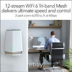 NETGEAR Orbi Pro Wifi 6 Tri-band Mesh System AX6000 SXK80 Pack 2 Wireless Router
