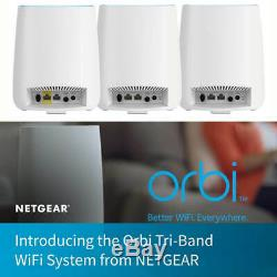 NETGEAR Orbi Tri-Band Whole Home Mesh WIFI System with 2.2Gbps Speed (RBK23)