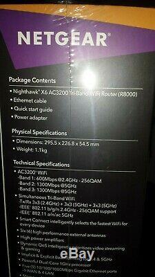 NETGEAR R8000-100UKS Nighthawk X6 Tri-Band 3.2Gbps Router Black