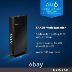 NETGEAR Wi-Fi 6 Mesh Range Extender (EAX20) Add up to 1,500 sq ft and 20+