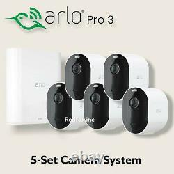 NEW Arlo Pro 3 Wireless Wire-Free 5-Security Camera System Bundle VMS4540-100NAR