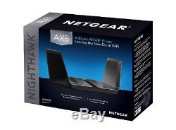 NEW NETGEAR Nighthawk AX8 8-Stream Wi-Fi 6 Router 802.11ax Smart (RAX80-100NAS)