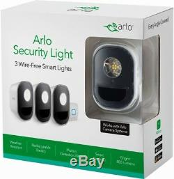 NEW Netgear Arlo Security Light System 3 Wire-Free Smart Lights with Extra Battery