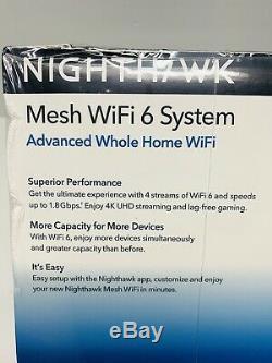 NEW Netgear Nighthawk AX1800 Dual-Band Mesh Wi-Fi 6 System 2-Pack MK62