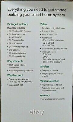 NetGear Arlo Smart Home Wireless Security HD Camera System VMS3330 3 Pack
