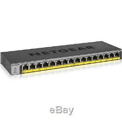 Netgear 16-Port 76W PoE/PoE+ Gigabit Ethernet Unmanaged Switch (gs116lp-100nas)