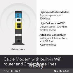 Netgear Nighthawk AC1900 Modem / Wi-Fi Router Combo (Comcast) C7100V-1AZNAS