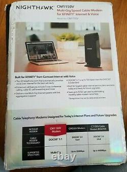 Netgear Nighthawk Cm1150v Multi-gig Speed Cable Modem For Xfinity Voice